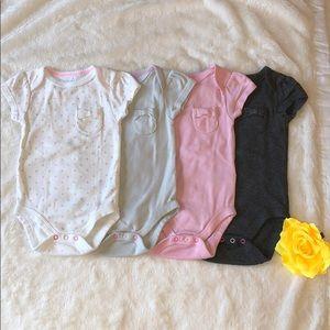 Baby Girls' 4pk Pocket Shorts Sleeve Bodysuit